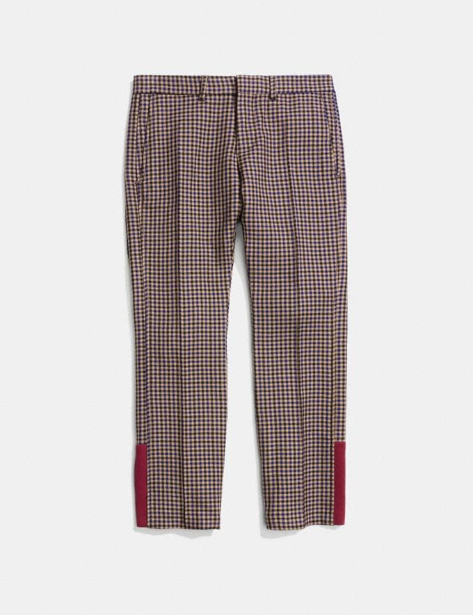 Coach Gingham Straight Leg Trousers Gingham Khaki/Navy  Alternate View 1