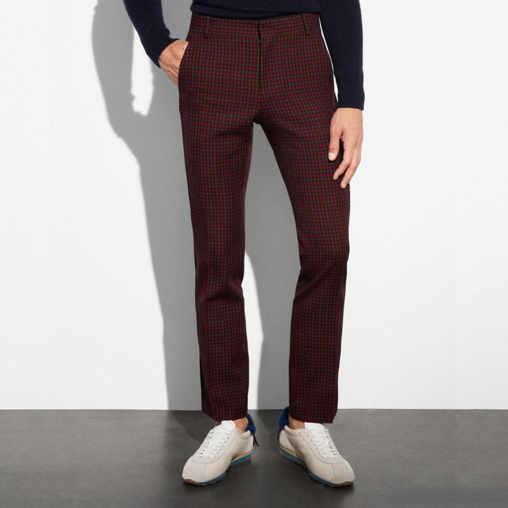 Coach Gingham Straight Leg Trousers