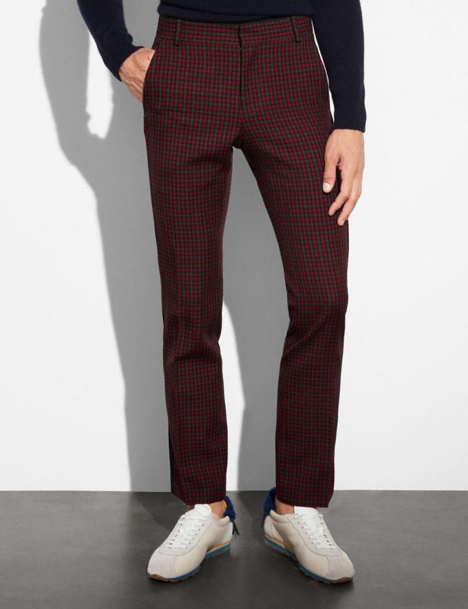 Coach Gingham Straight Leg Trousers Gingham Navy/Red