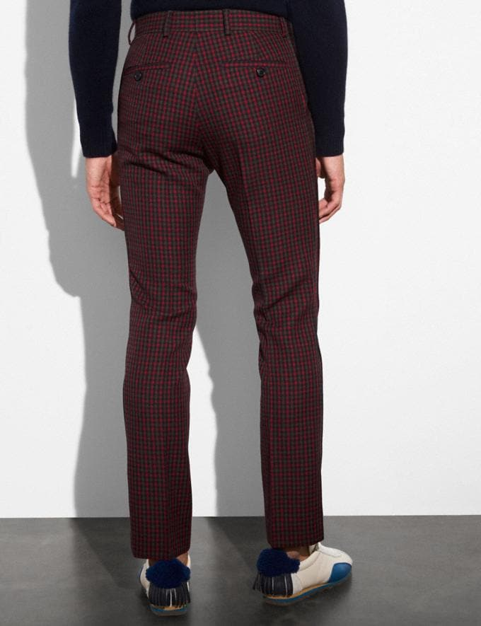 Coach Gingham Straight Leg Trousers Gingham Navy/Red  Alternate View 2