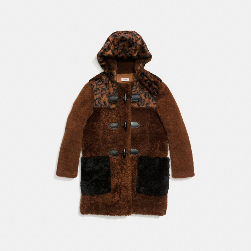 Coach Shearling Mix Duffle Coat Alternate View 1