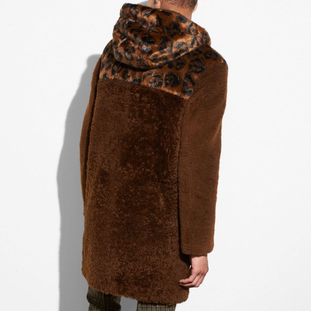 Coach Shearling Mix Duffle Coat Alternate View 2