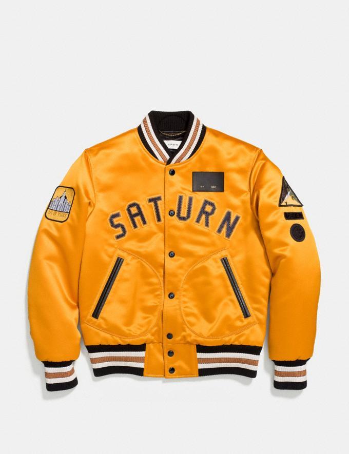 Coach Saturn Satin Varsity Jacket Deep Clementine SALE Men's Sale Ready-to-Wear Alternate View 1