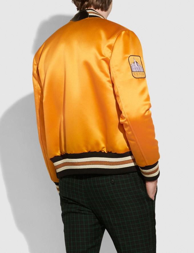 Coach Saturn Satin Varsity Jacket Deep Clementine SALE Men's Sale Ready-to-Wear Alternate View 2