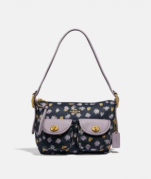 CARGO SHOULDER BAG WITH VINTAGE ROSE PRINT