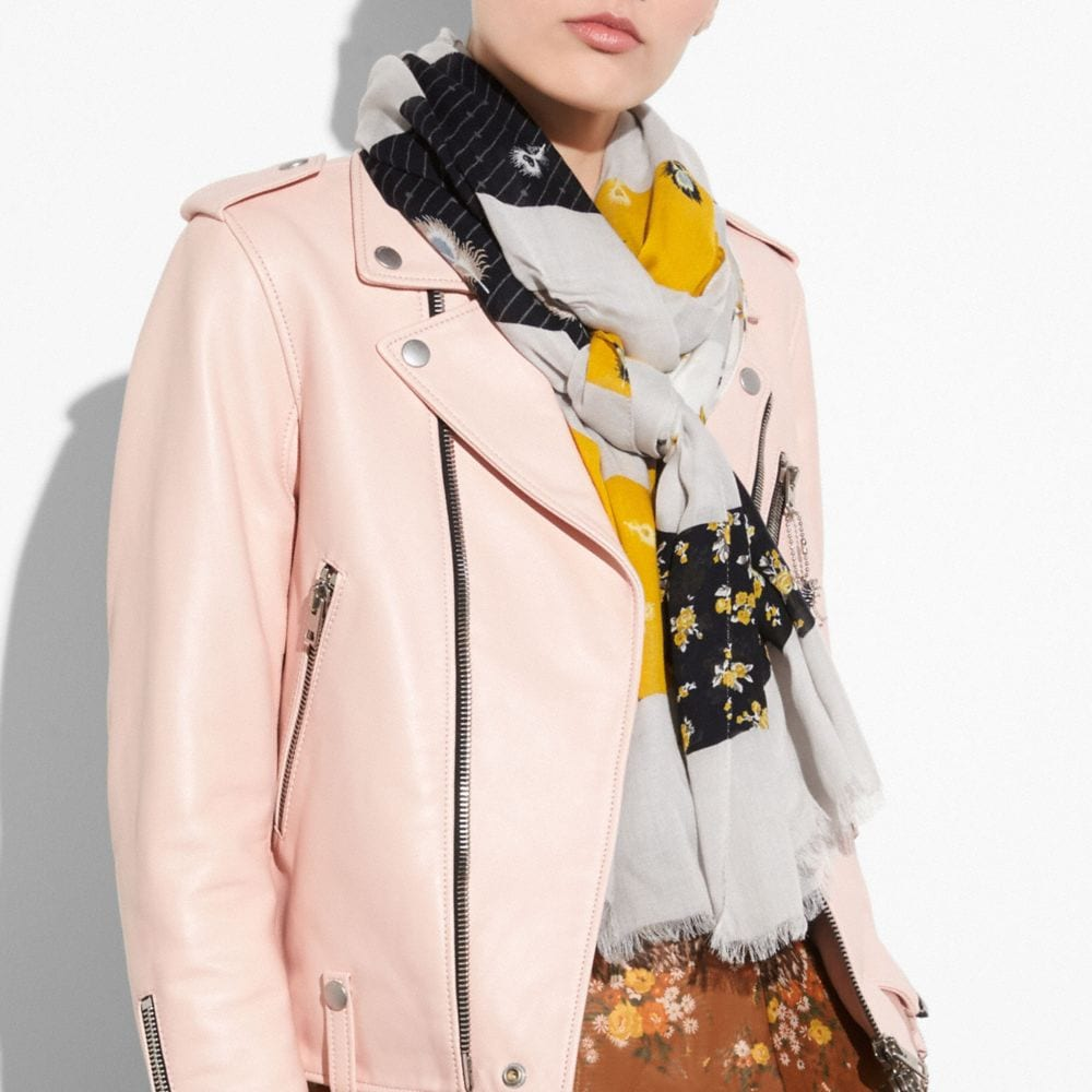 Coach Punk Roses and Feather Patchwork Oblong Alternate View 1