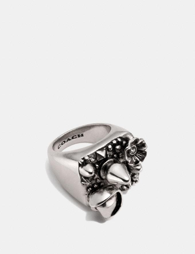 Coach Cluster Studded Ring Silver Women Accessories Jewellery Rings