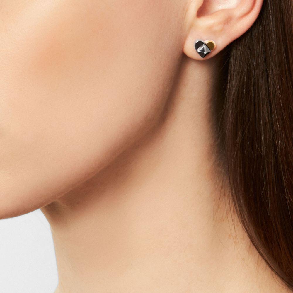 Studded Heart Stud Earrings - Alternate View A1