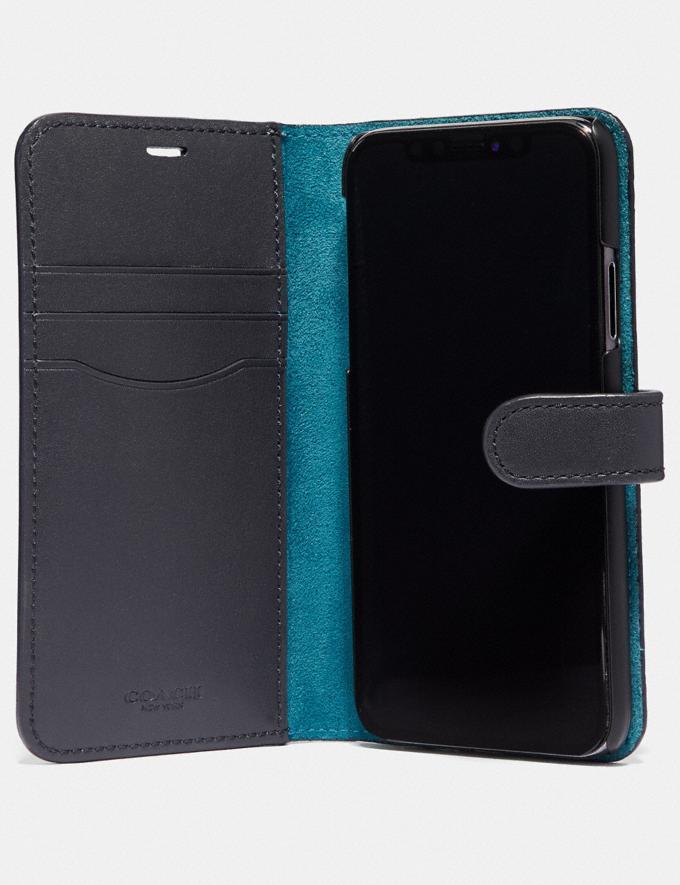 Coach iPhone X/Xs Folio With Sleeping Rose Print Blue/Multi Women Accessories Tech & Work Alternate View 1