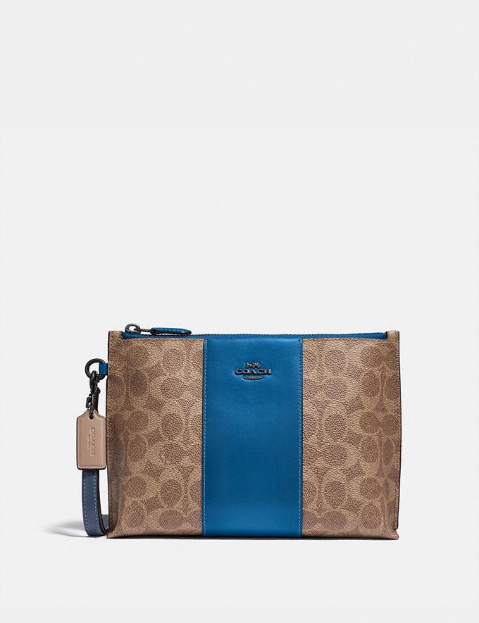 Coach Charlie Pouch in Colorblock Signature Canvas Pewter/Tan Dark Denim Women Collection Signature