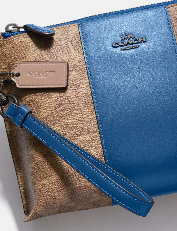 Coach Charlie Pouch in Colorblock Signature Canvas Pewter/Tan Dark Denim Women Collection Signature Alternate View 2