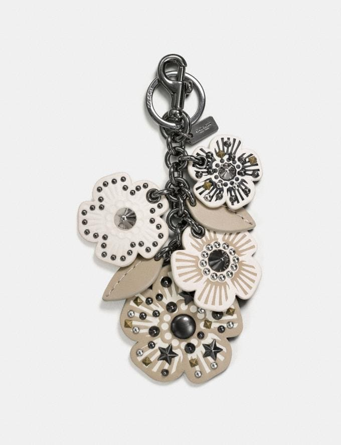 Coach Willow Floral Mix Bag Charm Chalk/Black Notify Me