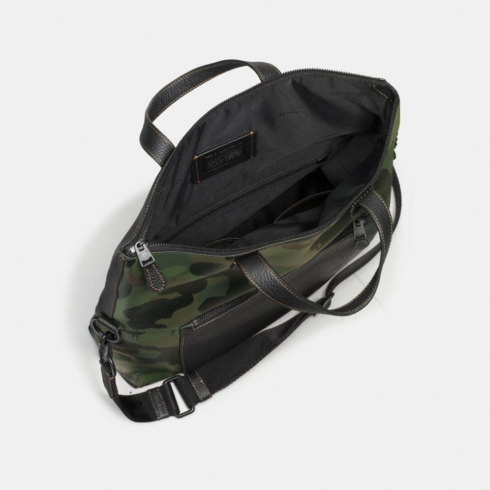 COACH Manhattan Foldover Tote In Pebble Leather With Wild Beast in Black/Military Wild Beast