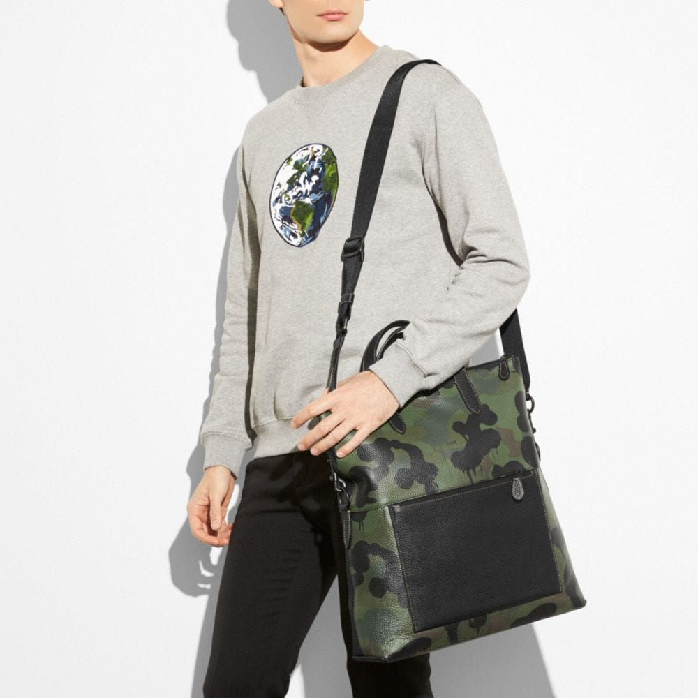 Manhattan Foldover Tote in Pebble Leather With Wild Beast - Alternate View A3