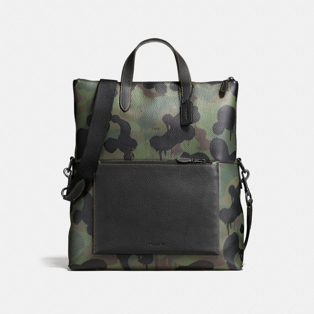 Manhattan Foldover Tote in Pebble Leather With Wild Beast