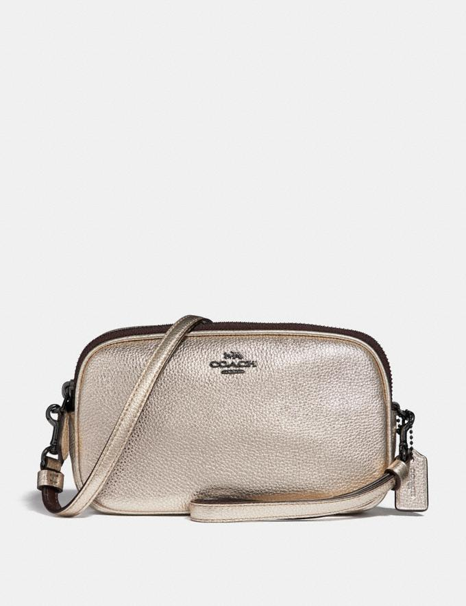 Coach Sadie Crossbody Clutch Platinum/Gunmetal Singles Day