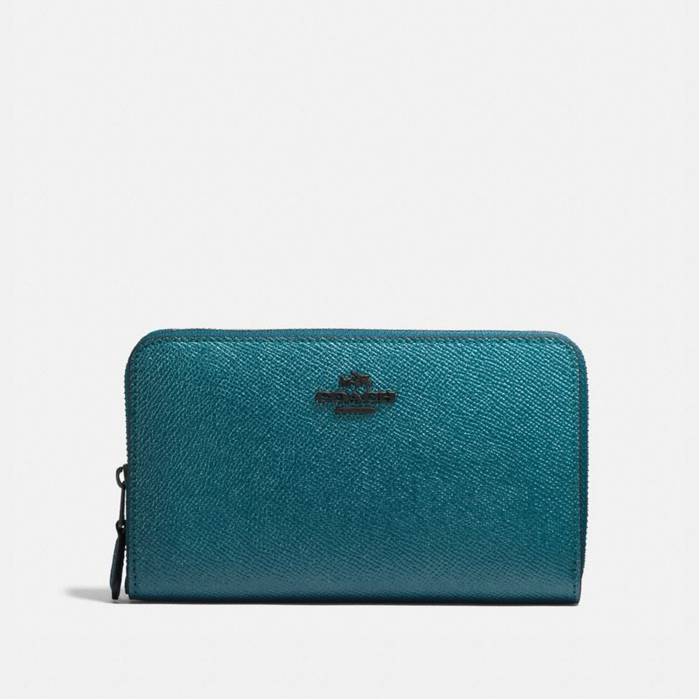 MEDIUM ZIP AROUND WALLET IN METALLIC LEATHER