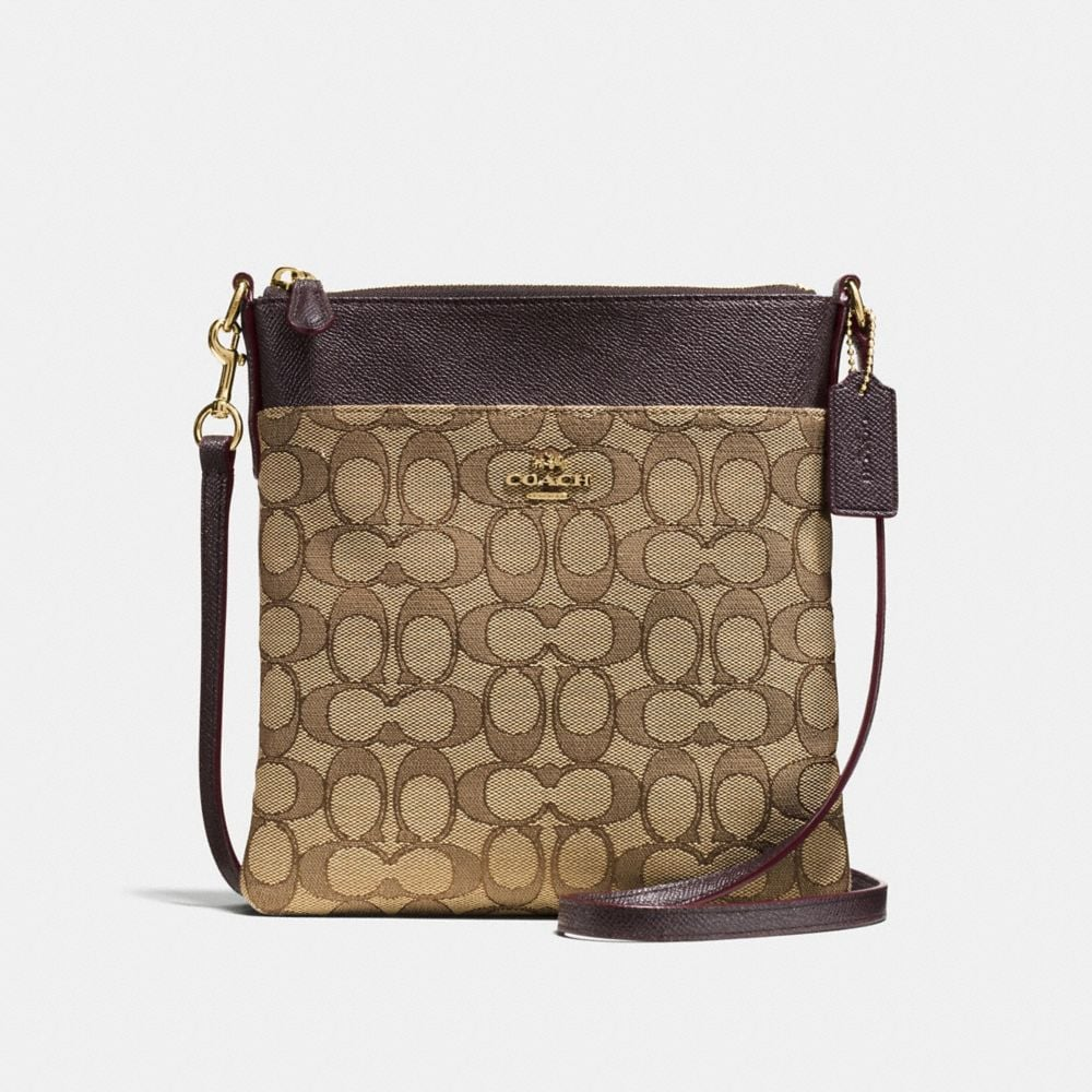 messenger crossbody in signature jacquard