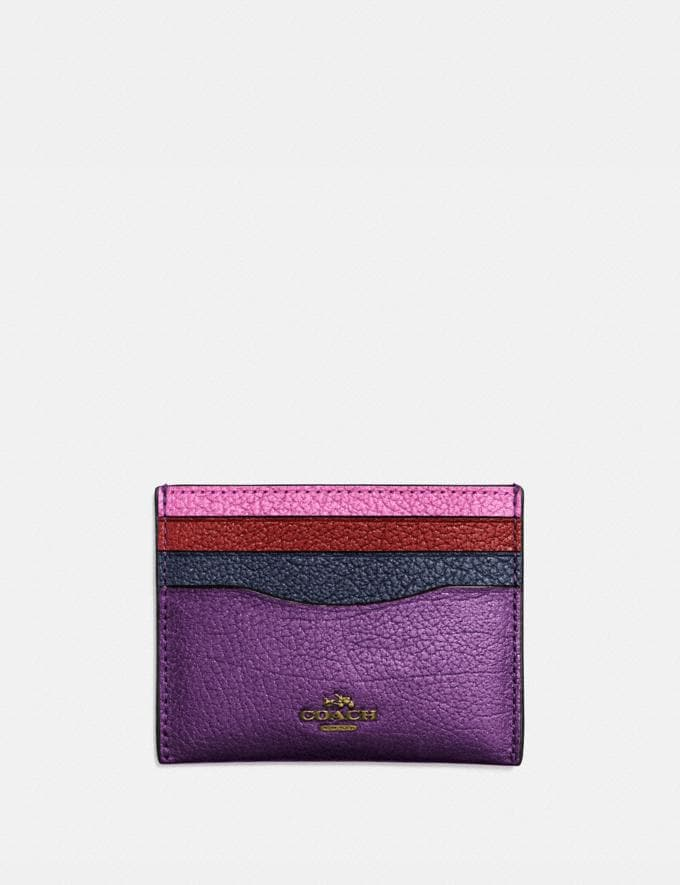 Coach Card Case in Colorblock Brass/Metallic Plum Multi Cyber Monday Women's Cyber Monday Sale Wallets & Wristlets