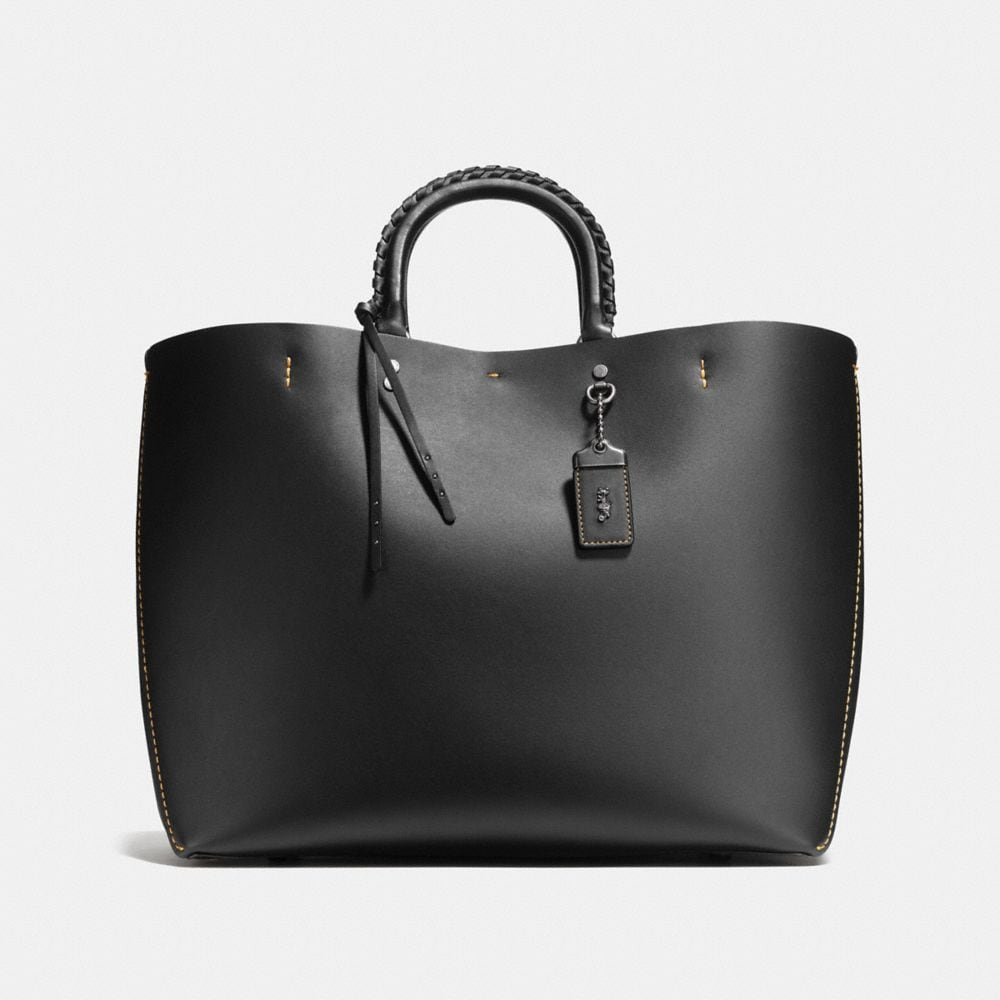 Rogue Tote With Embellished Handle in Glove Calf