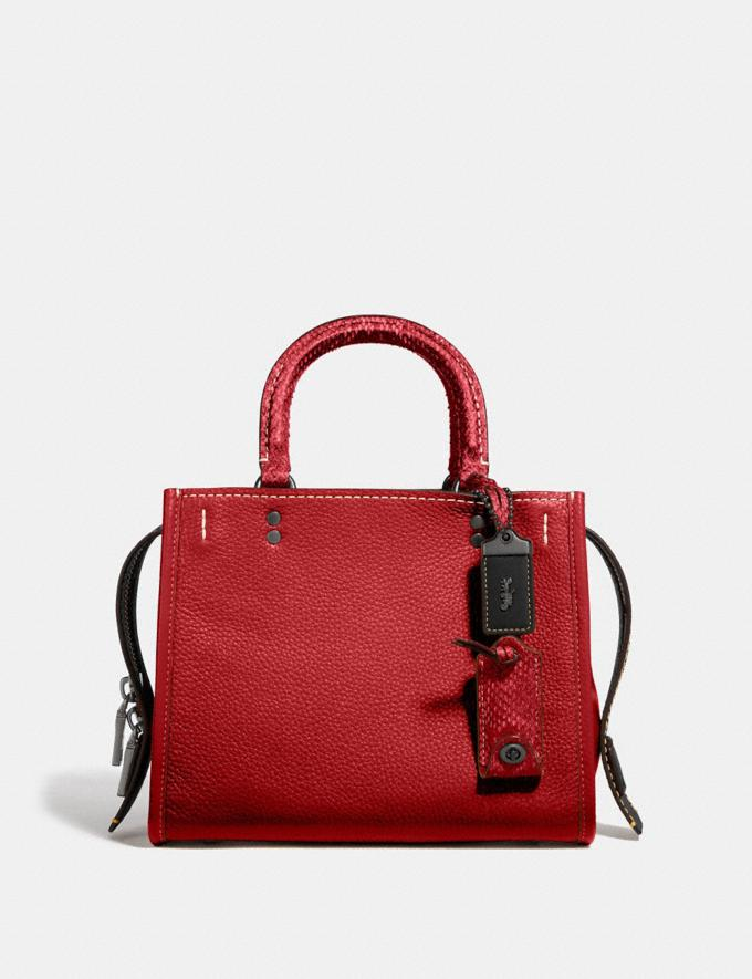 Coach Rogue 25 With Snakeskin Detail Black Copper/1941 Red Women Collection Rogue