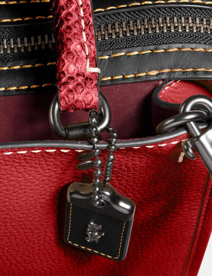 Coach Rogue 25 With Snakeskin Detail Black Copper/1941 Red Women Collection Rogue Alternate View 5