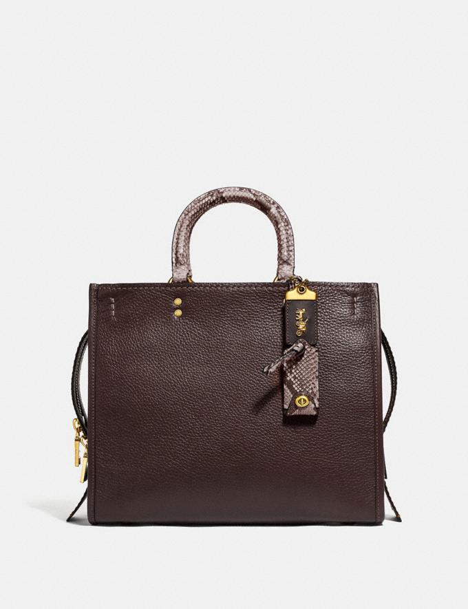 Coach Rogue in Colorblock With Snakeskin Detail Oxblood Multi/Brass Women Bags Shoulder Bags