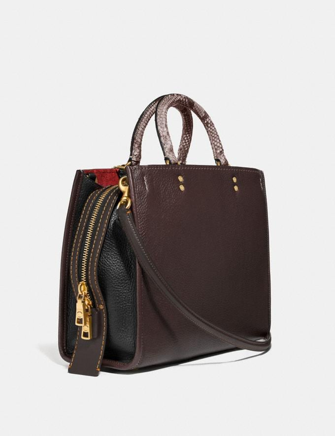 Coach Rogue in Colorblock With Snakeskin Detail Oxblood Multi/Brass Women Bags Shoulder Bags Alternate View 1