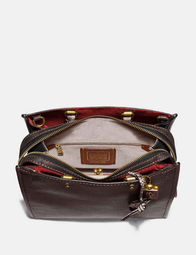 Coach Rogue in Colorblock With Snakeskin Detail Oxblood Multi/Brass Women Bags Shoulder Bags Alternate View 2