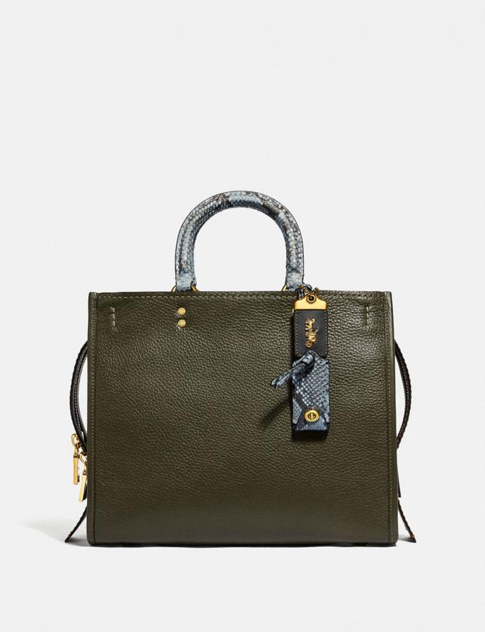 Coach Rogue in Colorblock With Snakeskin Detail Olive/Brass Women Bags Shoulder Bags