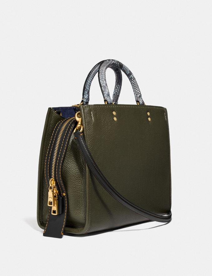 Coach Rogue in Colorblock With Snakeskin Detail Olive/Brass Women Bags Shoulder Bags Alternate View 1
