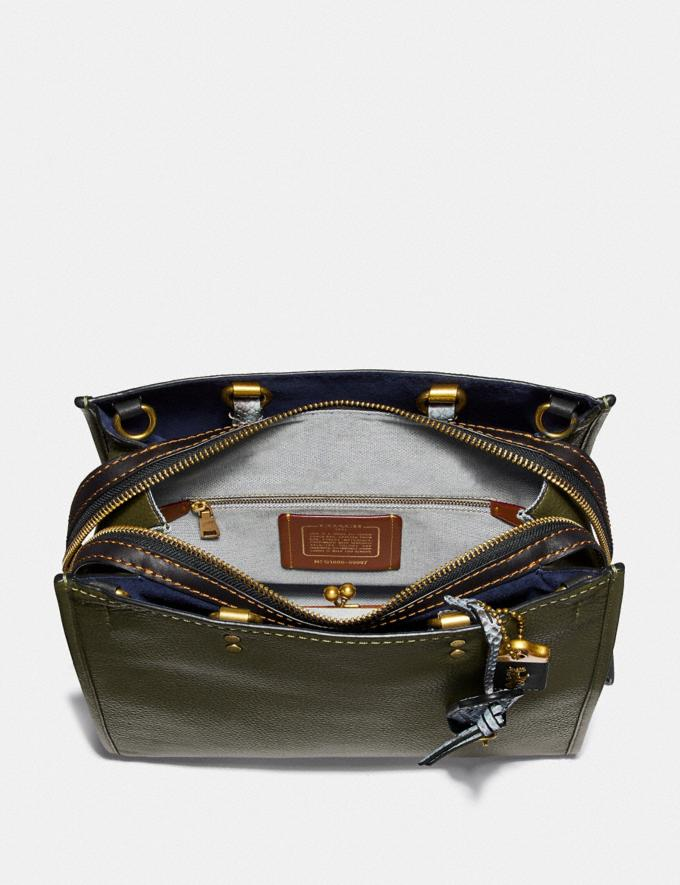 Coach Rogue in Colorblock With Snakeskin Detail Olive/Brass Women Bags Shoulder Bags Alternate View 2