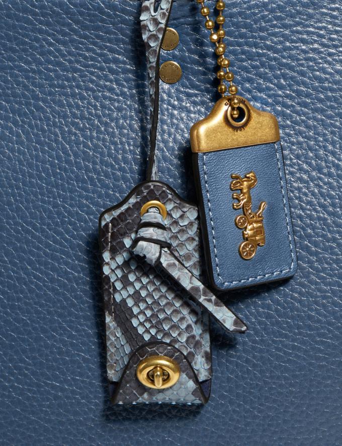 Coach Rogue in Colorblock With Snakeskin Detail Brass/Dark Denim Women Edits Exotic & Luxe Alternate View 5