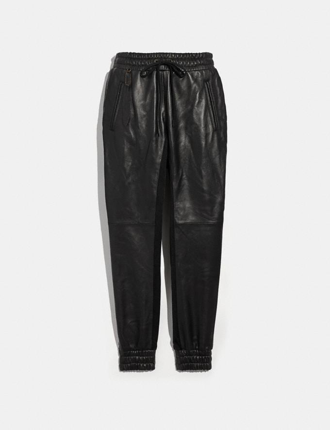 Coach Leather Jogger Black Women Ready-to-Wear Bottoms