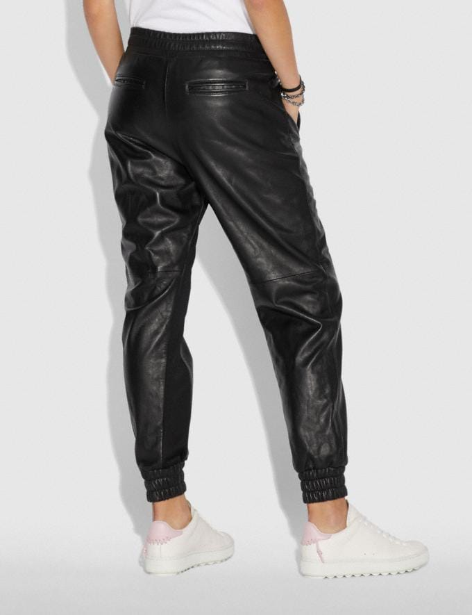 Coach Leather Jogger Black Women Ready-to-Wear Bottoms Alternate View 1