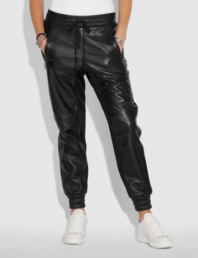 Coach Leather Jogger Black Women Ready-to-Wear Bottoms Alternate View 2