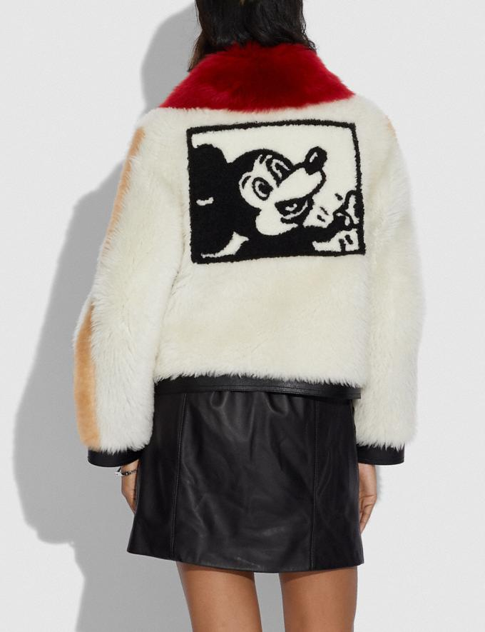 Coach Disney Mickey Mouse X Keith Haring Shearling Jacket Cream Women Ready-to-Wear Coats & Jackets Alternate View 2