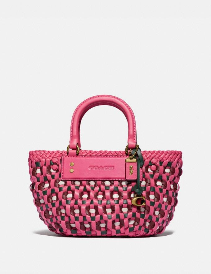 Coach Woven Tote 16 Brass/Confetti Pink Multi New Women's New Arrivals Bags