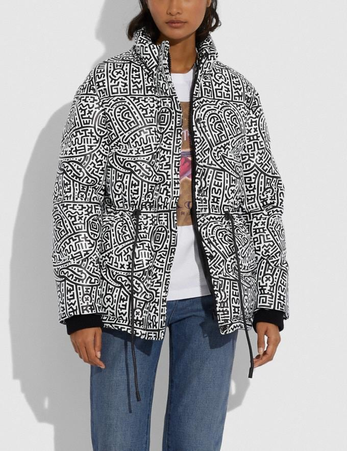 Coach Disney Mickey Mouse X Keith Haring Leather Puffer Jacket Black/White Women Ready-to-Wear Coats & Jackets Alternate View 3