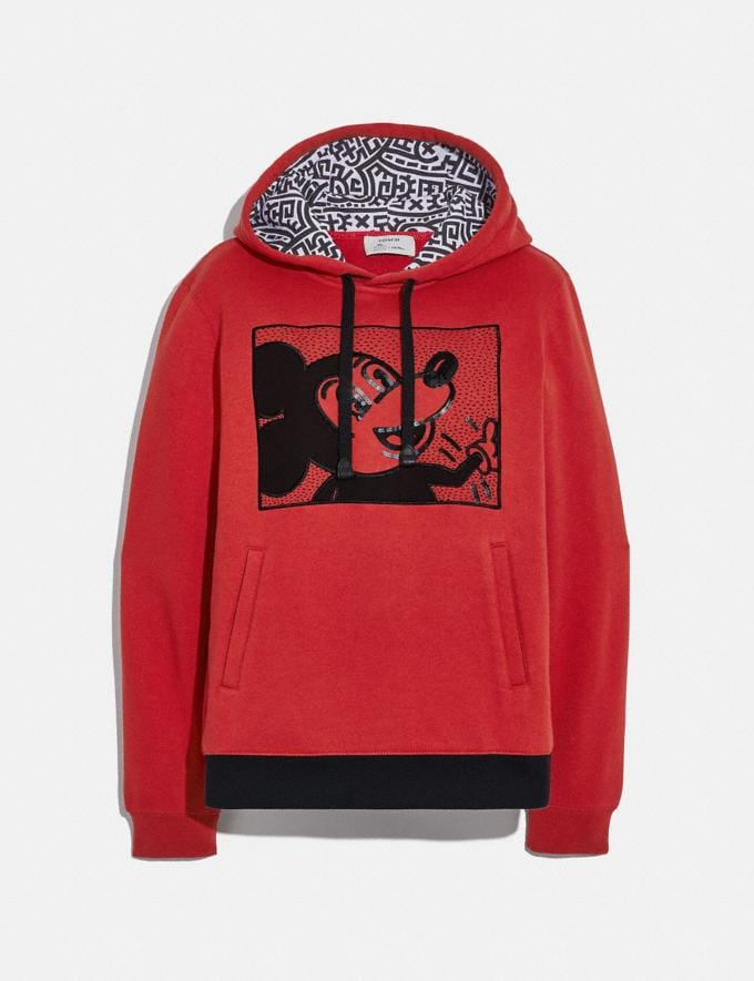 Coach Disney Mickey Mouse X Keith Haring Hoodie Red Women Ready-to-Wear Tops & T-shirts