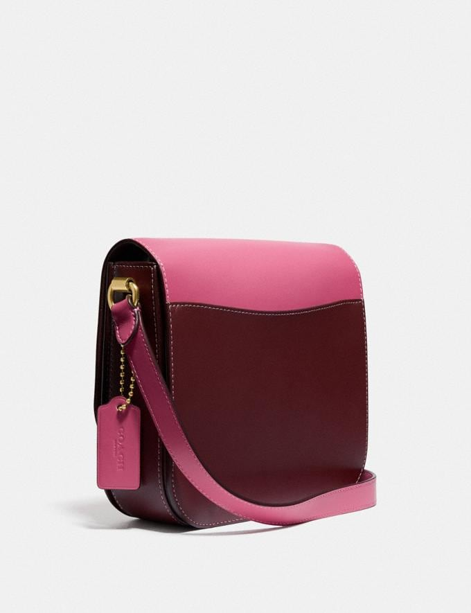 Coach Hutton Saddle Bag in Colorblock Brass/Confetti Pink Multi Women Handbags Crossbody Bags Alternate View 1