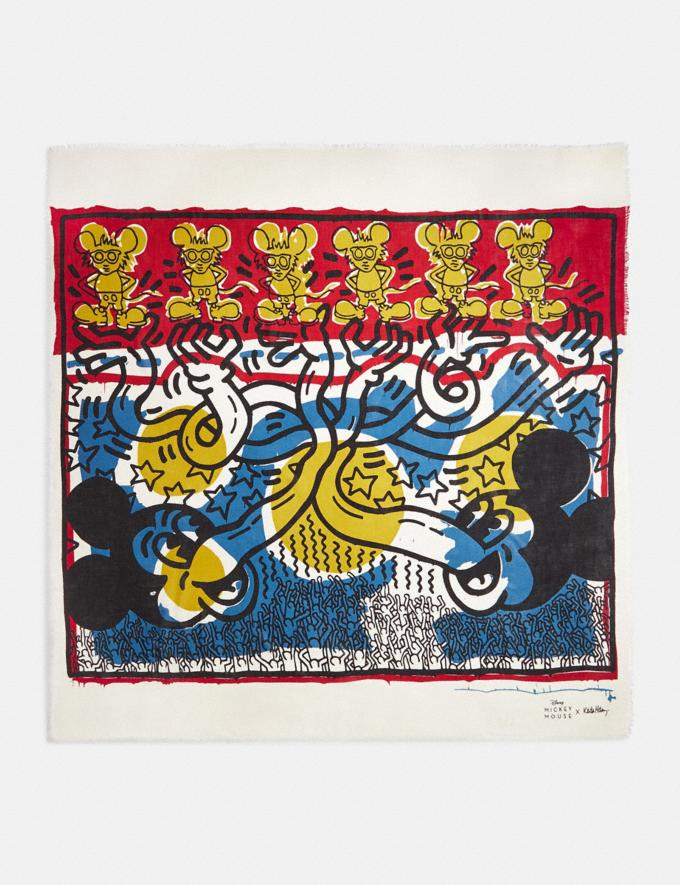Coach Disney Mickey Mouse X Keith Haring Oversized Square Scarf Blue/Red