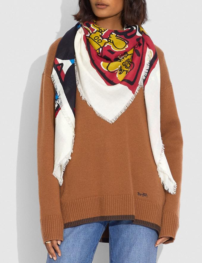 Coach Disney Mickey Mouse X Keith Haring Oversized Square Scarf Blue/Red  Alternate View 1