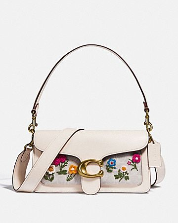 tabby shoulder bag 26 in signature canvas with floral embroidery