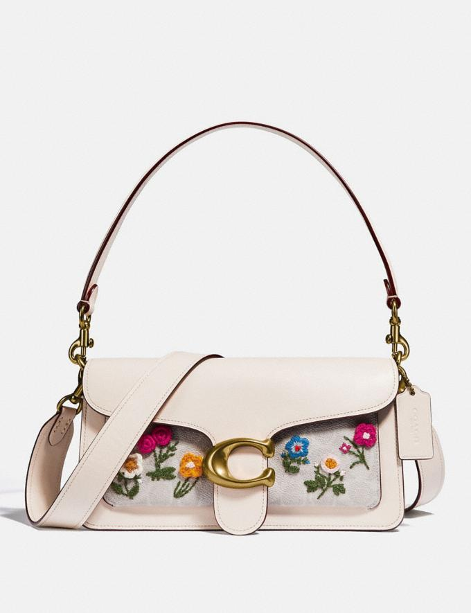 Coach Tabby Shoulder Bag 26 in Signature Canvas With Floral Embroidery Brass/Chalk Women Handbags