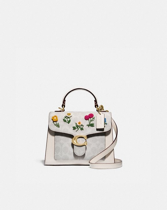 Coach TABBY TOP HANDLE 20 IN SIGNATURE CANVAS WITH FLORAL EMBROIDERY