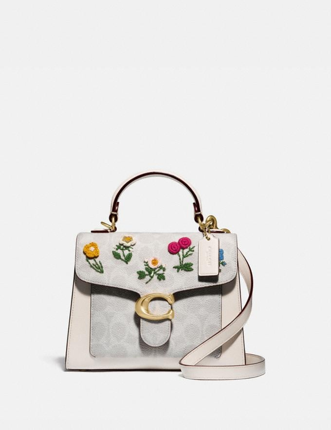 Coach Tabby Top Handle 20 in Signature Canvas With Floral Embroidery Brass/Chalk Women Collection Tabby