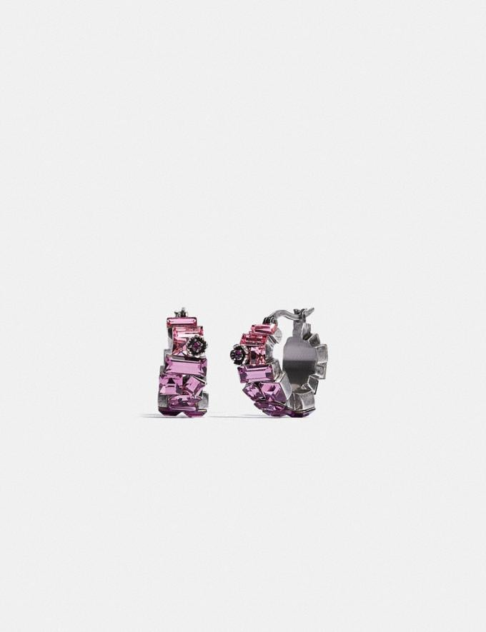 Coach Crystal Tea Rose Huggie Earrings Silver/Purple SALE For Her Accessories