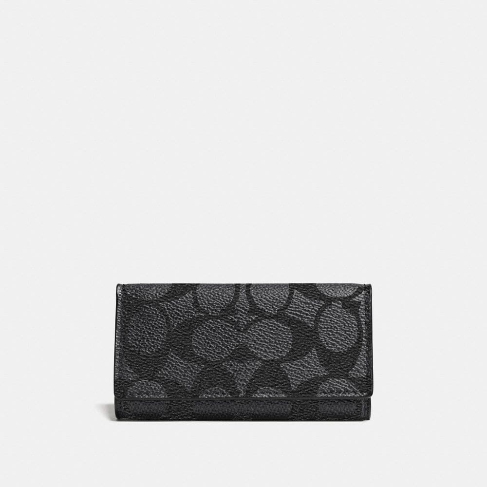 Coach 4 Ring Key Case in Embossed Signature Canvas