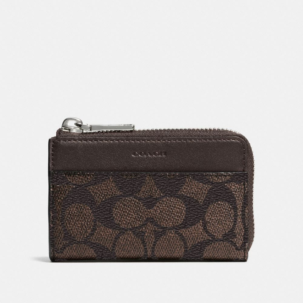 ZIP KEY CASE IN EMBOSSED SIGNATURE CANVAS
